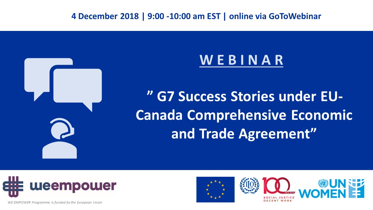 Webinar - G7 Success Stories under EU-Canada Comprehensive Economic and Trade Agreement